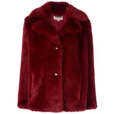 Michael Michael Kors fur effect short coat ($430) ❤ liked on Polyvore featuring outerwear, coats, red, short coat, fur coat, michael michael kors, red fur coat and red coat