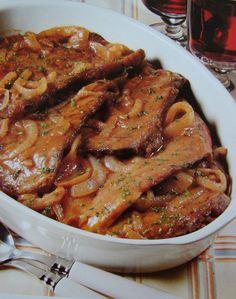 Steak Casserole- Gotta love somethin' that starts with steak and ends in casserole! )))