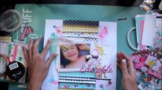 Adorable girl layout process video.