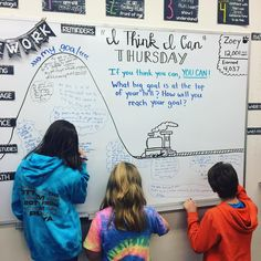 """I Think I Can Thursday. """"If you think you can, YOU CAN! What big goal is at the top of your hill? How will you reach your goal? Classroom Whiteboard, Classroom Organization, Classroom Management, Interactive Whiteboard, Future Classroom, School Classroom, Classroom Ideas, Beginning Of School, Middle School"""