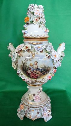 Porcelain Vase (Meissen) with Flowers and Birds