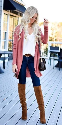 f5e684fe #winter #outfits red cardigan and brown knee-high boots Fall Fashion  Outfits,
