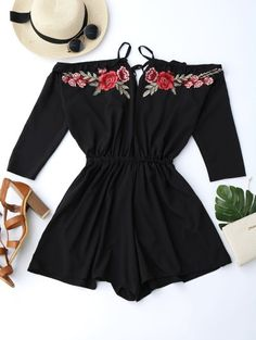 Floral Applique Cold Shoulder Romper - Black S Outfits For Teens, Summer Outfits, Cute Outfits, Black Romper, Look Fashion, Fashion Outfits, Fashion Design, Cold Shoulder Romper, Cute Rompers