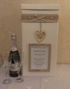 WEDDING CARD POST BOX PERSONALISED SHABBY HESSIAN LACE WOODEN PHOTOFRAME HEART In Home Furniture