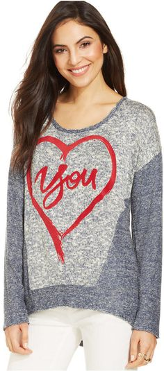 Style&co. Heart-Message Marled Sweater
