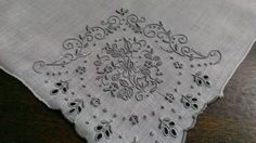 Gorgeous Vintage Madeira Hanky Embroidered Linen Hand Rolled  #Madeira #EmbroideredMadeira