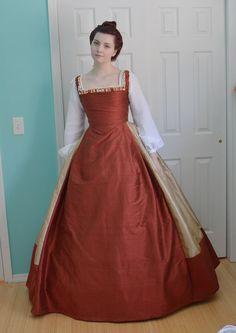 Making a Century Kirtle, Part Three – Angela Clayton's Costumery & Creations Robe Tudor, Tudor Dress, Mode Renaissance, Renaissance Fashion, 16th Century Fashion, 17th Century, Middle Age Fashion, Tudor Costumes, Tudor Fashion