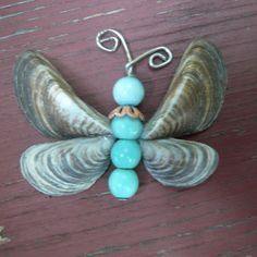 Shell Angel Crafts   ... Mussel Shell Wings & Blue Beads   Artistic Angels & Crafts by Haley
