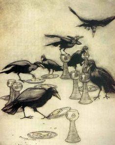 Children's / imaginative Illustrations: The Seven Ravens - Arthur Rackham