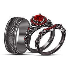 black gold gp red garnet his/her disney engagement ring trio ring set Black Gold Jewelry, Black Rings, Ring Set, Ring Verlobung, Unique Rings, Beautiful Rings, Disney Engagement Rings, Wedding Engagement, Gothic Jewelry