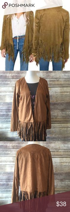 """NWT Faux Suede Fringe Cardigan Get ready for fall in this must have faux suede fringe cardigan. Perfect to wear with absolutely anything. Made of 100% polyester. Fully lined. Measures from pit to pit 21""""/ length 29"""". Pic 1 for modeling purposes only Boutique Sweaters Cardigans"""