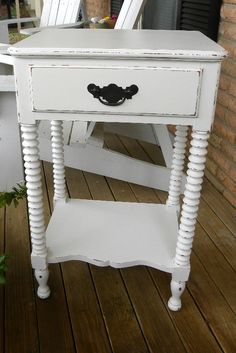 Shabby chic distressed nightstand end table by InspireMeDesigns,