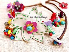 Vintage wrap flower leather bracelet 004