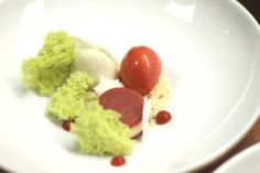 strawberries in many forms with lavender shortbread and pistachio cake