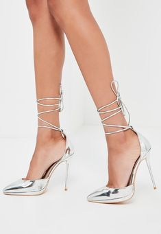 Missguided - Peace Love Silver Lace Up Pumps