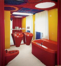 Interior from Wolfgang Feierbach house constructed 1968-1970 in Altenstadt Germany