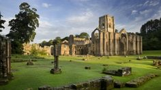 Fountains Abbey, Yorkshire.  Site of the largest monastic ruins in England.  Founded in 1132.