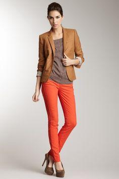 blazer and orange pants