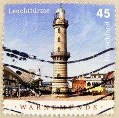 stamp Germany 45c lighthouse Germany postage € 0.45 Warnemunde timbre phare…