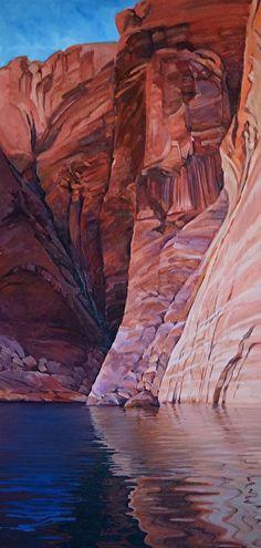 Hidden Canyon, Oil, 48x24, gallery wrap by Ron Larson Oil ~ 48 x 24, Lake Powell