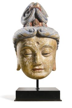 A POLYCHROME STUCCO HEAD OF GUANYIN -  MING DYNASTY