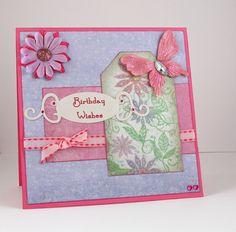 Birthday Card - Handmade Card - Lilac & Pink - Feminine - Butterfly - Flower - Woman, Women, Wife, Girl via Etsy