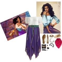 Esmeralda Costume by readbetweenthelines on Polyvore featuring Arden B., Wet Seal, H&M, Forever 21, Rimmel, Iman and Disney Disney Princess Outfits, Cute Disney Outfits, Disney Themed Outfits, Disney Bound Outfits, Disney Dresses, Esmerelda Costume, Gypsy Costume, Cute Halloween Costumes, Halloween Inspo