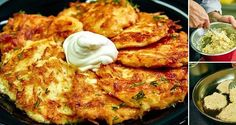 Potato fritters with sour cream. Slovak Recipes, Czech Recipes, Hungarian Recipes, Ethnic Recipes, Potato Dishes, Potato Recipes, Healthy Diet Recipes, Cooking Recipes, Homemade Sour Cream