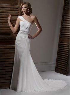 Grecian/ vintage wedding dress with asymmetrical neckline