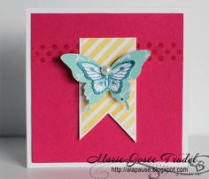 A La Pause: Simple, Rapide et Facile, Marie-Josée Trudel, SU, Stampin' Up!, Hearts a Flutter, Perfect Pennants, Papillon Potpourri, carte 3x3