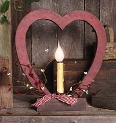 Country Prim Heart Candle Light...from Country Craft House.  Love this!