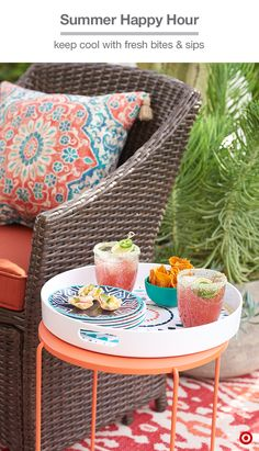 Summer happy hour means great drinks in a stylish outdoor setting. We recommend watermelon-tequila coolers paired with colorful cushions and patterned pillows. And don't forget the extras, like a tray and small plates for serving, lime slices for garnish (or the chile-salt rim on the glasses—it balances the drink perfectly).