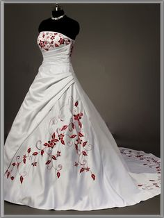 A-line bridal satin red embroidered gown natural chapel train