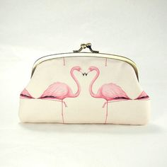 Double coin purse / Pink Flamingos / two compartments purse/ peach pink/ dusty pink/ all purpose clutch purse on Etsy, $39.00