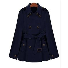 Yoins Navy Double Breasted Cape Coat With Belt (4.860 RUB) ❤ liked on Polyvore featuring outerwear, coats, tops, navy, double breasted belted coat, blue leather coat, cape coat, leather cape and leather cape coat