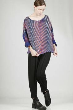 Issey Miyake   hip-length top with 'baked stretch' pleats in diagonal multicoloured waves   #isseymiyake