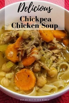 Soup can be wonderful comfort food. Soothe yourself with this protein-rich Chickpea Chicken Soup. And visit other recipes that are part of #HousefulofSoups Hearty Chicken Soup, Chicken And Sweetcorn Soup, Vegetable Soup With Chicken, Tomato Soup Recipes, Healthy Soup Recipes, Easy Recipes, Carrot And Coriander Soup, Cream Of Potato Soup, Homemade Soup