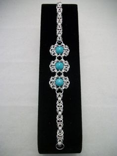 Romanov Chainmaille Bracelet with Aqua Blue Green by GypsyGrove