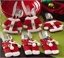 O envio gratuito de 6 pçs/set papai Sliverware saco de decoração de natal mesa de jantar faca garfo restaurante Enfeites sacos de talheres(China (Mainland))