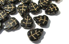 Czech Black Glass Leaf Beads Thirty (30) Czech Glass Leaves 13mm Gold Luster Black Glass Vintage Glass Bead Wedding Jewelry Supplies (Y83) by punksrus on Etsy