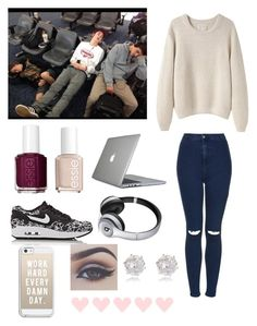 """""""At the airport with the boys"""" by be-robinson ❤ liked on Polyvore featuring Topshop, Essie, La Garçonne Moderne, Speck, NIKE, Beats by Dr. Dre, Casetify, Bellezza and River Island"""