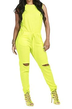 ac4accf3a6b4 Fixmatti Womens Casual Sleeveless Hollow out Skinny Jumpsuit Rompers Yellow  XXL  gt  gt  gt