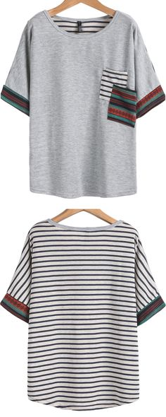 Casual grey cotton striped T-shirt at romwe.com. A happy summer again.