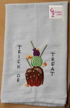 Trick or Treat Embroidered Flour Sack Towel by Cr8tiveLefty