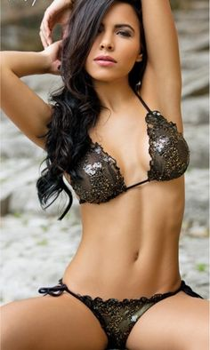 1c58166409 Sexy sequined string bikini swimsuit with black and gold sequins and a  flirty scalloped edge. Side tie bikini bottoms have sheer cutouts on rear