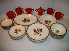 44 Pieces of METLOX POPPYTRAIL Red Rooster by TimeHonoredTokens, $350.00