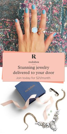 Sign up to Rocksbox and receive a curated box of designer jewelry delivered to your door. For just $21/mo, you�ll receive 3 unique pieces at a time with the option to borrow, buy or swap at any time. Featuring more than 30 on-trend designers such as Gorjana, Kendra Scott and House of Harlow.