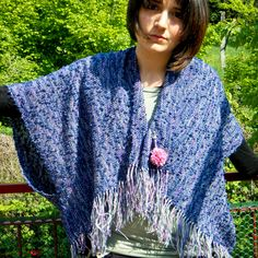 handwoven  cape poncho wool silk  with brooch from doloomitescolours by DaWanda.com
