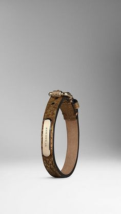 Burberry Buckle Detail Metallic Leather Bracelet  #LadiesFashion