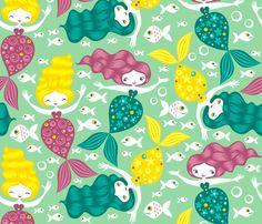 mermaid fabric by gaiamarfurt on Spoonflower - custom fabric